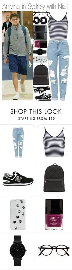 """""""• Arriving in Sydney with Niall"""" by dianasf ❤ liked on Polyvore featuring Topshop, New Balance, Kate Spade, Butter London, CLUSE, Nintendo, Accessorize and NiallHoran"""