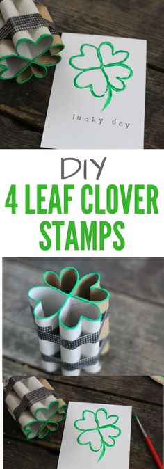 Learn how to make DIY 4 Leaf Clover Stamps from toilet paper rolls - a simple St Patrick's Day craft project for kids! St Patricks Day Crafts For Kids, St Patrick's Day Crafts, Easter Crafts For Kids, New Crafts, Diy For Kids, Easy Crafts, Paper Towel Roll Crafts, Paper Crafts, Craft Projects For Kids