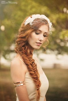 "Boho and Vintage Bridal Makeup and Hair | Redhead Fishtail Braid | ""GATSBY'S GARDEN"" BRIDAL BEAUTY SERIES http://www.elegantwedding.ca/"