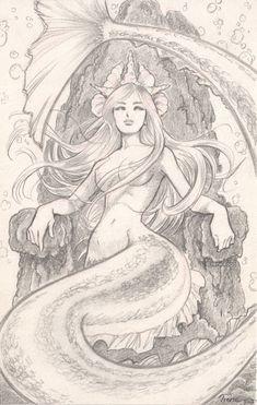 Jack (Yoel) Goldenberg - The little Mermaid on RISD Portfolios Mermaid Artwork, Mermaid Drawings, Mermaid Tattoo Designs, Mermaid Tattoos, Fantasy Mermaids, Mermaids And Mermen, Arte Yin Yang, Mermaid Pictures, Mermaid Coloring