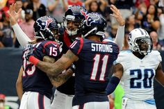 Titans vs. Texans:   October 2, 2016  -   By THE ASSOCIATED PRESS  -  Will Fuller had a tiebreaking 67-yard punt return for a touchdown and the Houston Texans earned a 27-20 win over the Tennessee Titans on Sunday in their first game without J.J. Watt.  -  Houston Texans wide receiver Will Fuller (15) celebrates his touchdown catch with teammates during the first half of an NFL football game against the Tennessee Titans, Sunday, Oct. 2, 2016, in Houston.