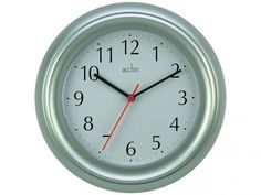 Wycombe Wall Clock in Silver Stock Research, Clock, Amazon, Wall, Kitchen, Silver, Home Decor, Watch, Cooking