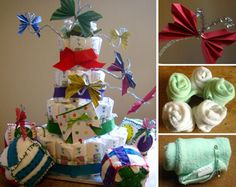 Learning how to make diaper cakes is easy & fun, and they are a really practical gift idea for a new Mom. Includes video and photo instructions.