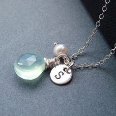 Aqua Chalcedony Necklace Initial and Pearl by RoseAndRaven