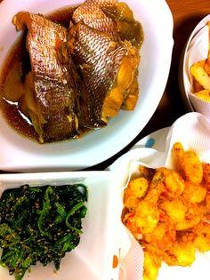 今からご飯(~_~;)胃がもたれる。 - 7件のもぐもぐ - 海老フライ&鯛の煮付け by mika0116