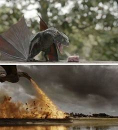 Drogon as a baby and now. #howtotrainyourdragon, Game of Thrones.