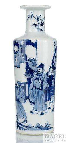 A blue and white decorated porcelain rouleau vase, China, Chenghua mark, Kangxi period
