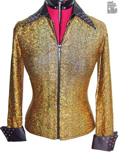 Women's rail shirt, Gold Goddess zip jacket, hologram rainbow flexes, showmanship, western top- Limited Edition! READY TO SHIP! S/M-- $149