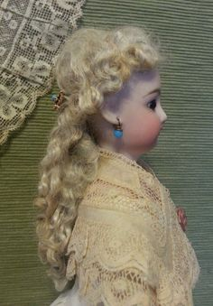 Cherie's Petite Boutique -Divine Mohair Lady's Wig - FF Pale Ash Blond - Old Dolls, Antique Dolls, 19th Century Fashion, Doll Wigs, Womens Wigs, Ash Blonde, French Fashion, Lady, Fashion Dolls