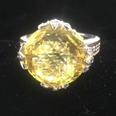 💝HPx2💝 Ripka Canary Sterling ring💖HP💖 💝💝Host Pick Downtown Romantic Party 4/26💖💖Exquisite piece by award winning designer Judith Ripka.  Stone is cushion cut and multi faceted and set in Sterling silver with diamond accents. Judith Ripka Jewelry Rings