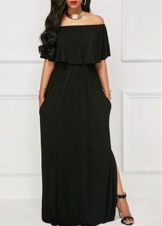 Off the Shoulder High Slit Black Maxi Dress Sexy Dresses, Casual Dresses, Fashion Dresses, Casual Clothes, Long Dresses, Best Cocktail Dresses, Vestidos Plus Size, Club Party Dresses, Looks Plus Size