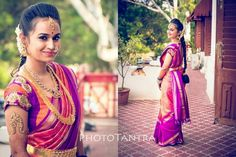 South Indian Telugu bride. Temple jewelry. Purple and orange silk kanchipuram sari. Braid with fresh flowers. Telugu bride.. Hindu bride.