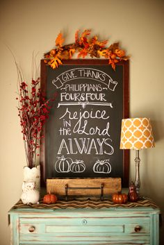 thanksgiving chalkboard.... Like the color of the table to do to my little table And like the turquoise and orange.
