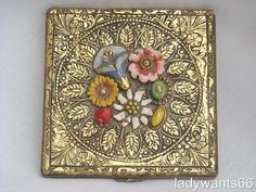 ART DECO CZECH  ENAMEL FLOWERS POWDER COMPACT CIRCA 1930