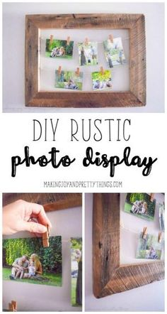 DIY Rustic Photo Display made of barnwood for a unique way to display personal and family photos. Easy DIY project to add some farmhouse style to your home by Regina Anderson