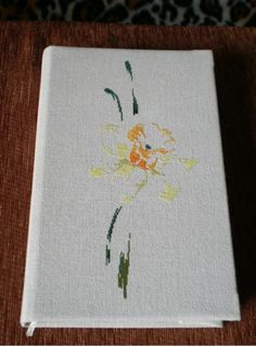 Narcisse, for my journals. Cross Stitch Embroidery, Cross Stitch Patterns, Notebook Covers, My Journal, Cross Stitch Flowers, Journals, Needlework, Stitching, Sewing