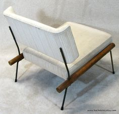 1950s Mid Century Modern Chair Upholstery Wood  by Nachokitty