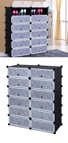 12-cube Shoe Cabinet Organizer | DIY Shoe Storage Ideas | Easy Organization Ideas for Girls Bedroom