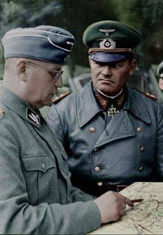 SS-Brigadeführer Walter Krüger (last rank SS-Obergruppenführer) with Generaloberst Erich Hoepner (commander of Panzergruppe 4) at Operation Barbarossa