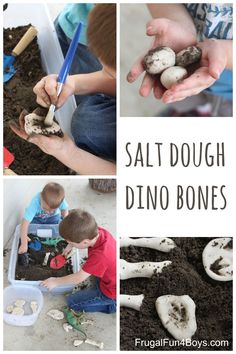 Dinosaur bones made out of salt dough - dig in dirt or sand. Love this!