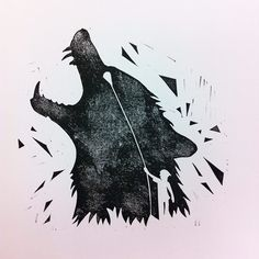 Kid&Wolf linocut on white paper.