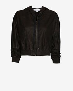 Elizabeth and James Cropped Hooded Leather Jacket