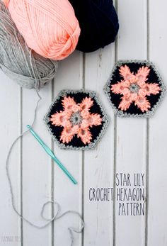 Love the colors! Star Lily Crochet Hexagon Motif By Beverly - Free Crochet Pattern - (flamingotoes) Motifs Afghans, Crochet Motifs, Crochet Blocks, Crochet Squares, Crochet Stitches, Hexagon Crochet, Love Crochet, Crochet Crafts, Crochet Yarn