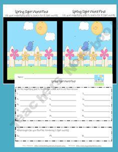 free--Kindergarten Sight Word Find-Spring