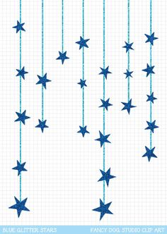 Star Clip Art Blue Glitter Downloadable Image by FancyDogStudio, Could do something similar with stars of david to hang from fireplace.