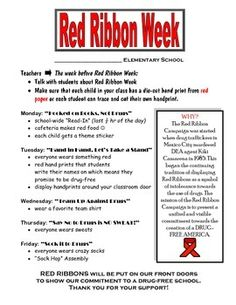 This FREE Red Ribbon Week flyer goes with my Theme Days for Red Ribbon Week. If you are on the Red Ribbon committee and need ideas, look no further!!