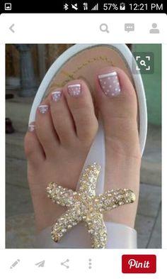 Uñas Nail Designs 2015, Toenail Art Designs, French Tip Nail Designs, Simple Nail Art Designs, Toe Nail Designs, Nails Design, Pretty Toe Nails, Cute Toe Nails, Pretty Toes