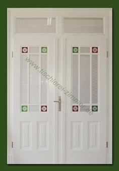 Gut eine zweiflügelige Innentür mit facettiertem Glas | Kassettentüren  PJ56