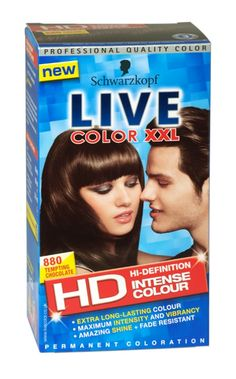 Experience true HD colour with Schwarzkopf Live XXL 880 Tempting Chocolate and take your vibrancy to the max Live Colour Xxl, Schwarzkopf Live Colour, Chocolate Pack, Contour Makeup, Makeup Tips, Makeup Ideas, Dyed Hair, Health And Beauty, Hair Color