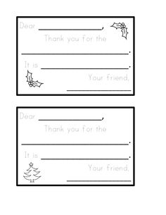 Fill in the Blank Christmas Thank You Notes for Kids