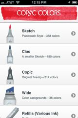 Copic Marker Colors iPhone Application  I have this on my ipad too. No more problem buying 2 of any colour. Amazing app. Works with Android too.