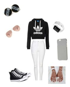 """Untitled #152"" by sara1-862 on Polyvore featuring Topshop, Ray-Ban, Klix and Converse"