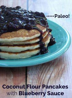 2 Ingredient Blueberry Sauce with Coconut Flour Pancakes #food #paleo #glutenfree #coconutflour