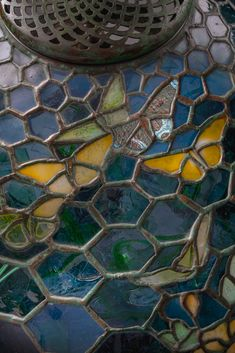 Leaded Glass Windows, Stained Glass Lamps, Stained Glass Panels, Butterfly Lamp, Green Palette, Luminous Colours, Tiffany Glass, Honeycomb Pattern, Shades Of Yellow