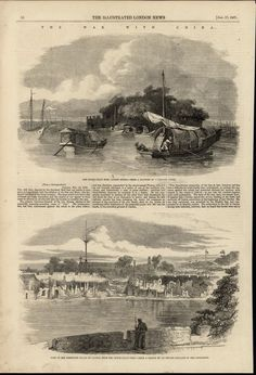 Dutch Folly Fort Canton River Boats Soldier China 1857 antique Travel print #Vintage