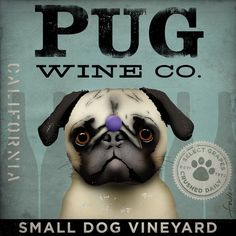 PUG Wine Company original illustration graphic artwork giclee archival premium poster print 12 x 12 on Etsy, $39.00