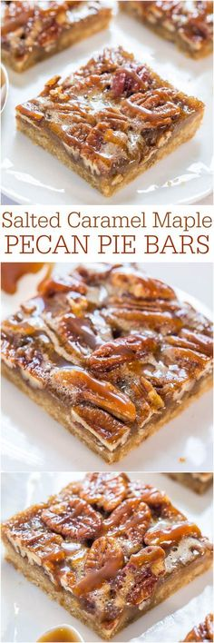 Salted Caramel Maple Pecan Pie Bars - All the flavor of pecan pie minus the work. : Salted Caramel Maple Pecan Pie Bars - All the flavor of pecan pie minus the work. Maple Pecan Pie, Pecan Pie Bars, Maple Bars, Pecan Praline Cake, Pecan Pralines, Think Food, Love Food, Cookie Recipes, Dessert Recipes