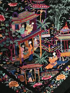 Chinese Painting, Chinese Art, Chinese Pagoda, Chinese Embroidery, Embroidery Art, African Colors, Flower Dance, Indian Art Paintings, China