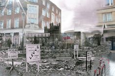 Exeter in the blitz and today. Photojournlaist Lucy Munday blends the two for amazing results. Exeter Express and Echo The Blitz, Exeter, Latest Pics, Photojournalism, Devon, Past, Two By Two, Street View, Gallery