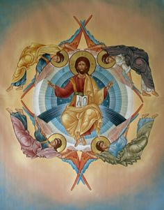 The first four Archangels (Michael, Gabriel, Raphael, Uriel) stand in the four corners of The Great Throne of God. A blessed Ascension to you all! Byzantine Icons, Byzantine Art, Religious Icons, Religious Art, Four Archangels, Nativity Church, Catholic Art, Guardian Angels, Orthodox Icons