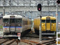 Inbound and outbound trains (Sojya station, Okayama, Japan)