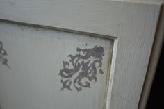 Refinished cabinet door with a decorative stencil using Chalk Paint®. #chalkpaint #chalk paint #paint #diy
