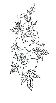Rose Drawing Tattoo, Tattoo Design Drawings, Tattoo Sketches, Watercolor Tattoo, Rose Outline Tattoo, Rose Tattoo Stencil, Rose Outline Drawing, Flower Tattoo Drawings, Cat Tattoo