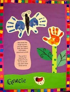 kindergarten idea, handprint butterfly and flower with a cut poem. Kindergarten Graduation, Kindergarten Art, Preschool Crafts, Kindergarten Portfolio, Handprint Butterfly, Handprint Art, Spring Activities, Preschool Activities, Art For Kids