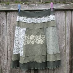 Thankful Rose upcycled tshirt skirt in deep forest green and mossy sage green with white. Comfortable and easy care. Twist it to change the look!