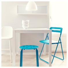 white and turquoise ikea dining